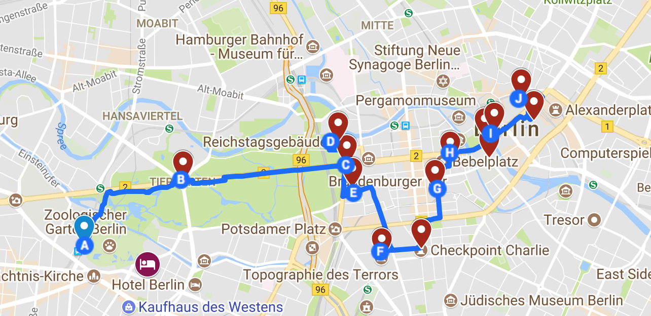 A map showing a walking guide and directions of Berlin, by www.CalMcTravels.com. Cal McTravels