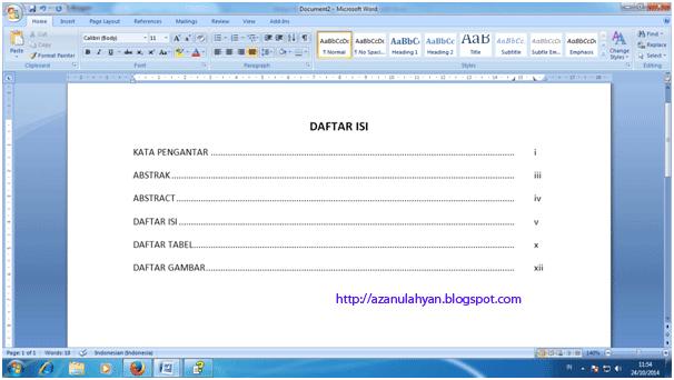 Cara Membuat Daftar Isi Dengan Ms. Word