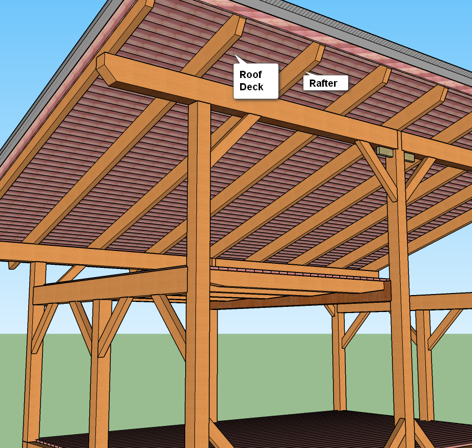 Timber Frame Cabin Building Log Exposed Rafters And Insulating