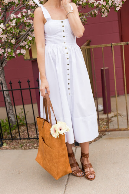 White Dress with Brown Caged Sandals