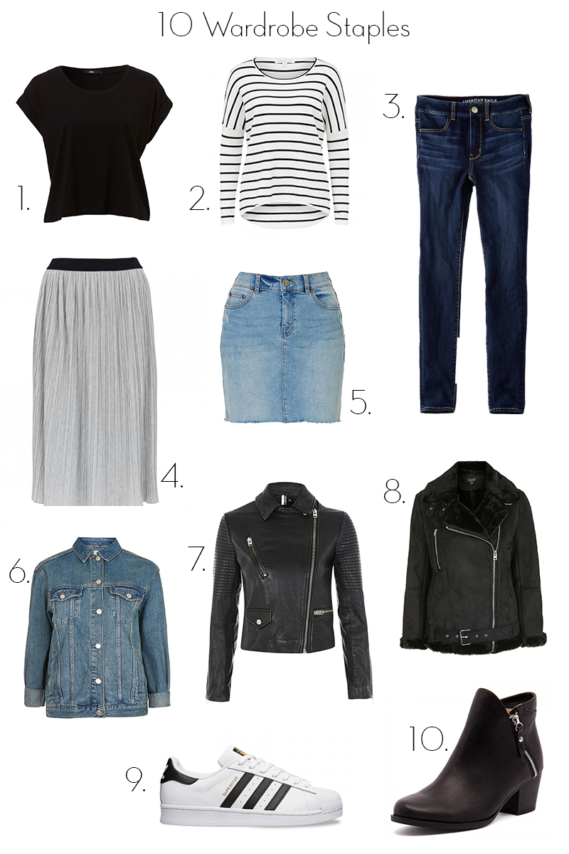 10 wardrobe staples, 10 clothing items you must own, wardrobe staples, must own items of clothing, basic t-shirt, knitwear, jeans, maxi skirt, denim skirt, leather jacket, coat, adidas superstar, ankle boots