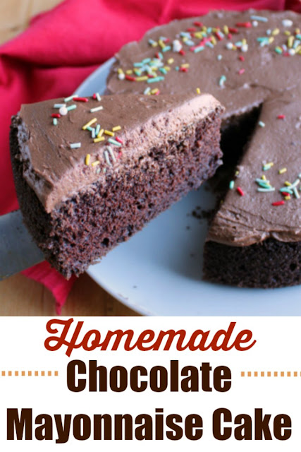 Rich and moist chocolate mayonnaise cake with simple chocolate frosting in a smaller size. It's a perfect dessert for a small party or just because!