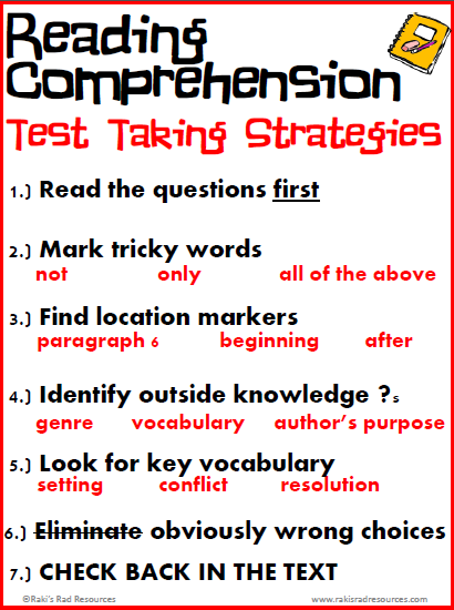 Free poster - reading comprehension test taking strategies - from Raki's Rad Resources