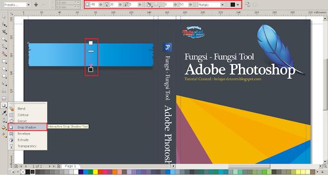 Cara Membuat Desain Cover Buku dengan CorelDRAW X4, efek shadow keren