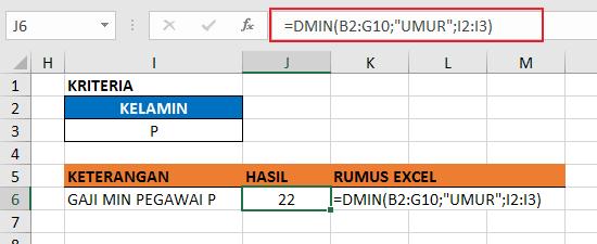 Contoh Fungsi DMIN Excel