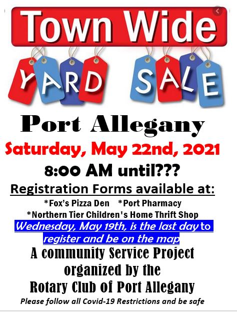 5-22 Port Allegany Town Wide Yard Sale