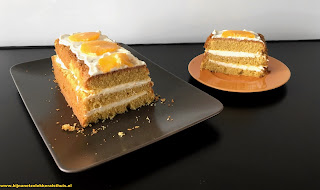 oranje cake met roomkaasglazuur