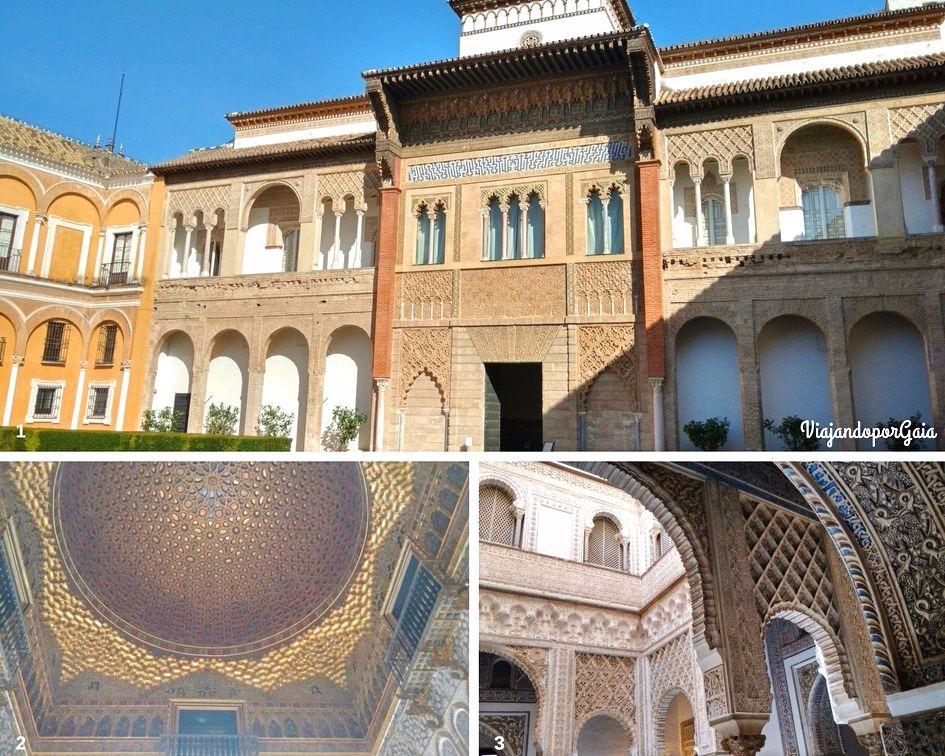 1. Entrada al palacio de Pedro I. 2. Cúpula del Salón de los Embajadores. 3. Detalle del Salón de los Embajadores.