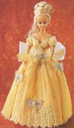 Vestido de época de crochê para Barbie