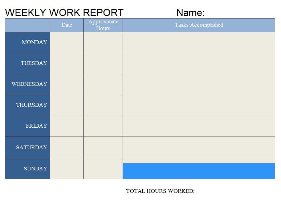 weekly work report templates - daily work report template