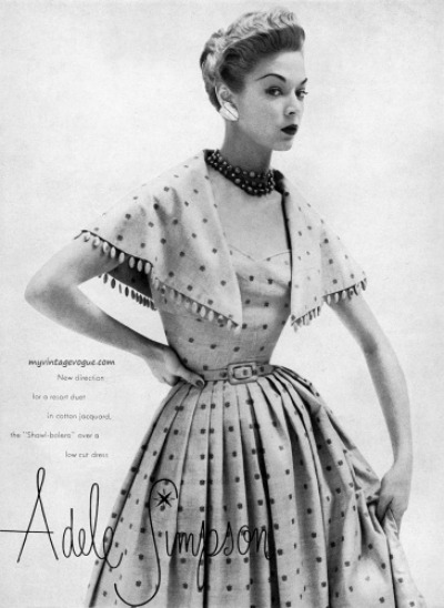 Jean Patchett modeling polka dot dress for Adele Simpson 1951