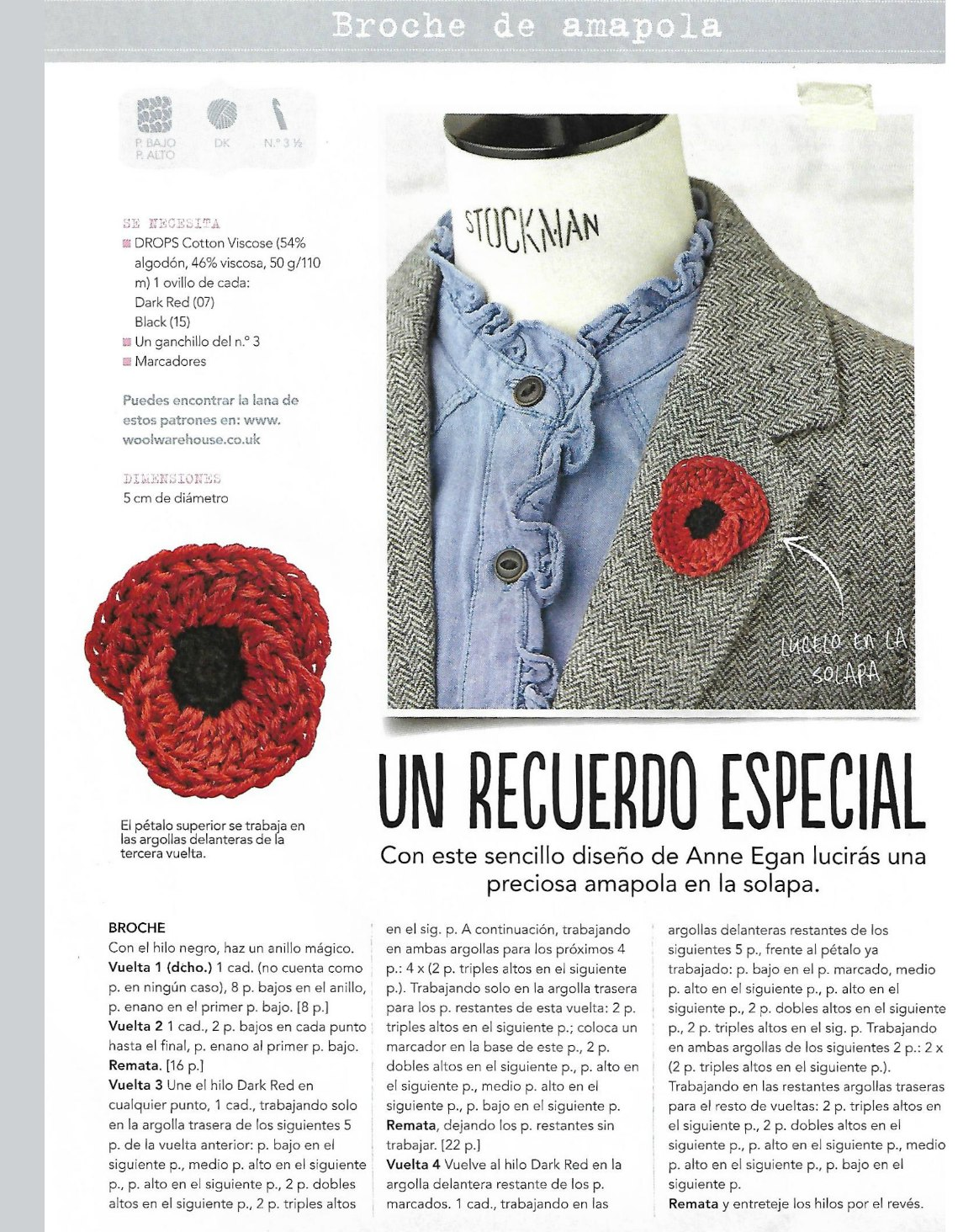 2 Broches amapolas ganchillo como recuerdo solidario