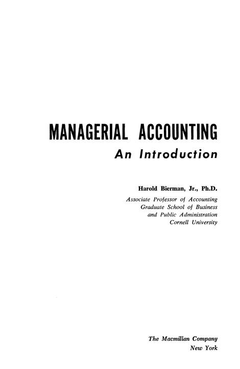 Managerial Accounting Book Free Download