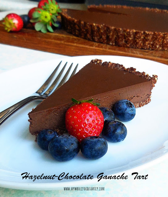 Hazelnut Chocolate Ganache Tart - gluten free and dairy free - from www.mywholefoodfamily.com