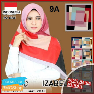 KRS008 Segi Empat Motif Jilbab Azara BMGShop