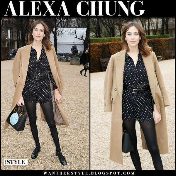 Alexa Chung in camel coat, polka dot romper with black bag dior paris fashion week january 23