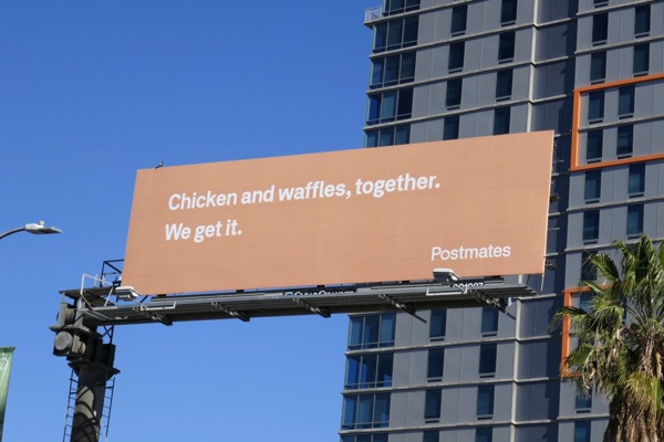 Chicken waffles Postmates billboard