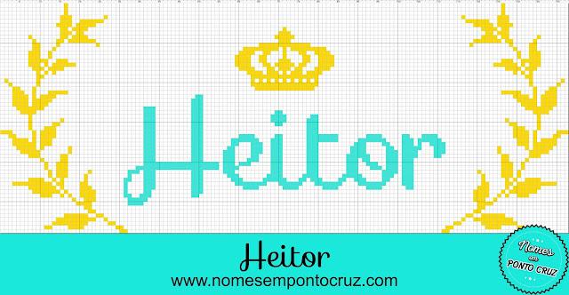 Gráfico do Nome Heitor em Ponto Cruz com Coroa