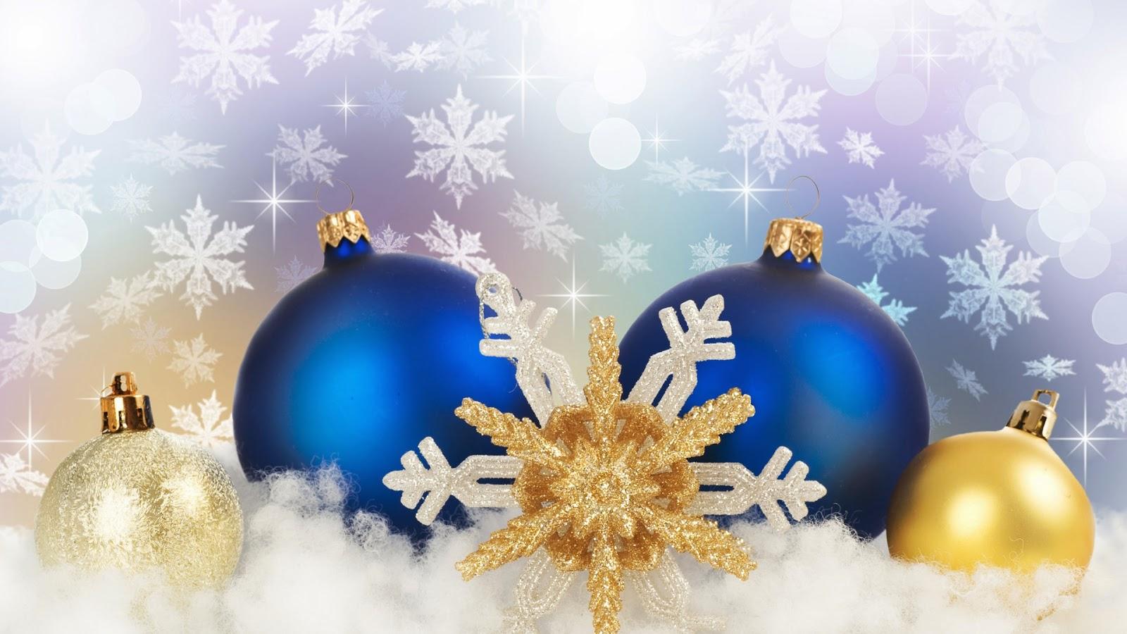 6a9fcad3c7ee6 Wallpapers de Navidad - Feliz Navidad - Esferas navideñas azul y amarilla  con fondo ilusorio