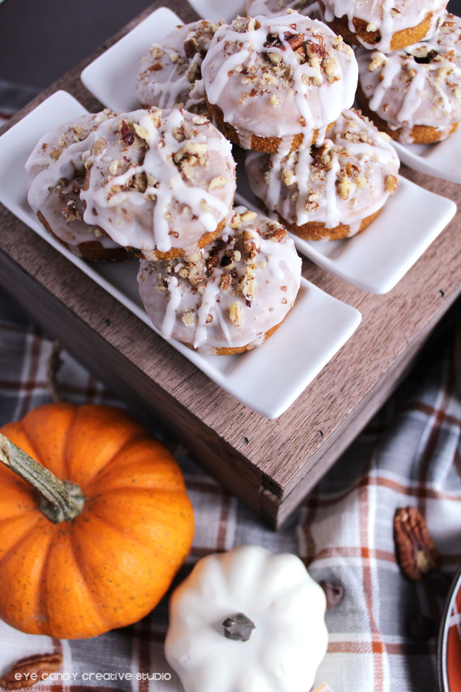mini baked pumpkin spice donuts with pecans, pumpkin, plaid