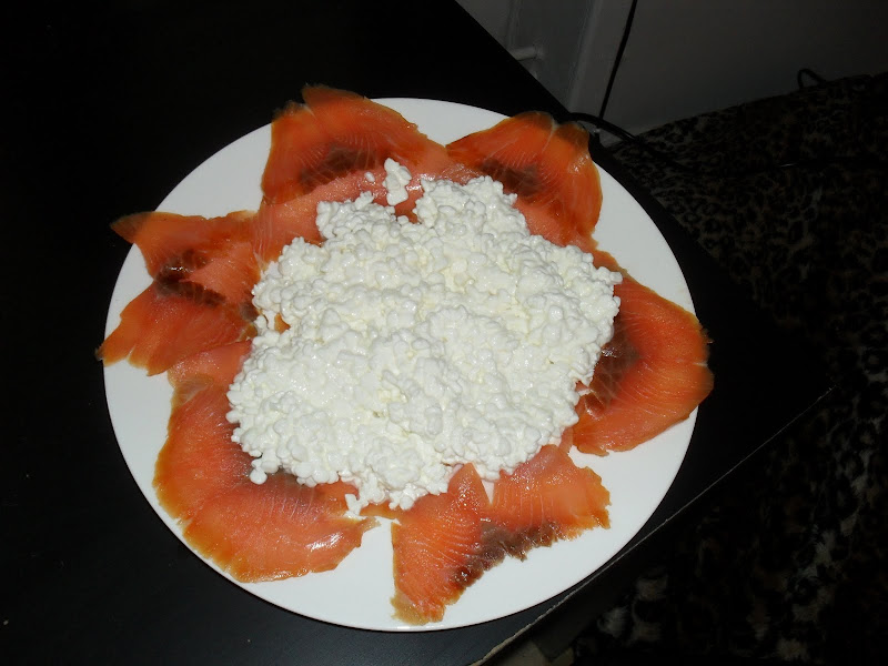 Plate of cottage cheese and salmon