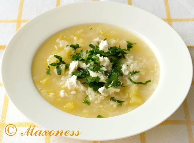 Луковый суп с кабачком и фетой