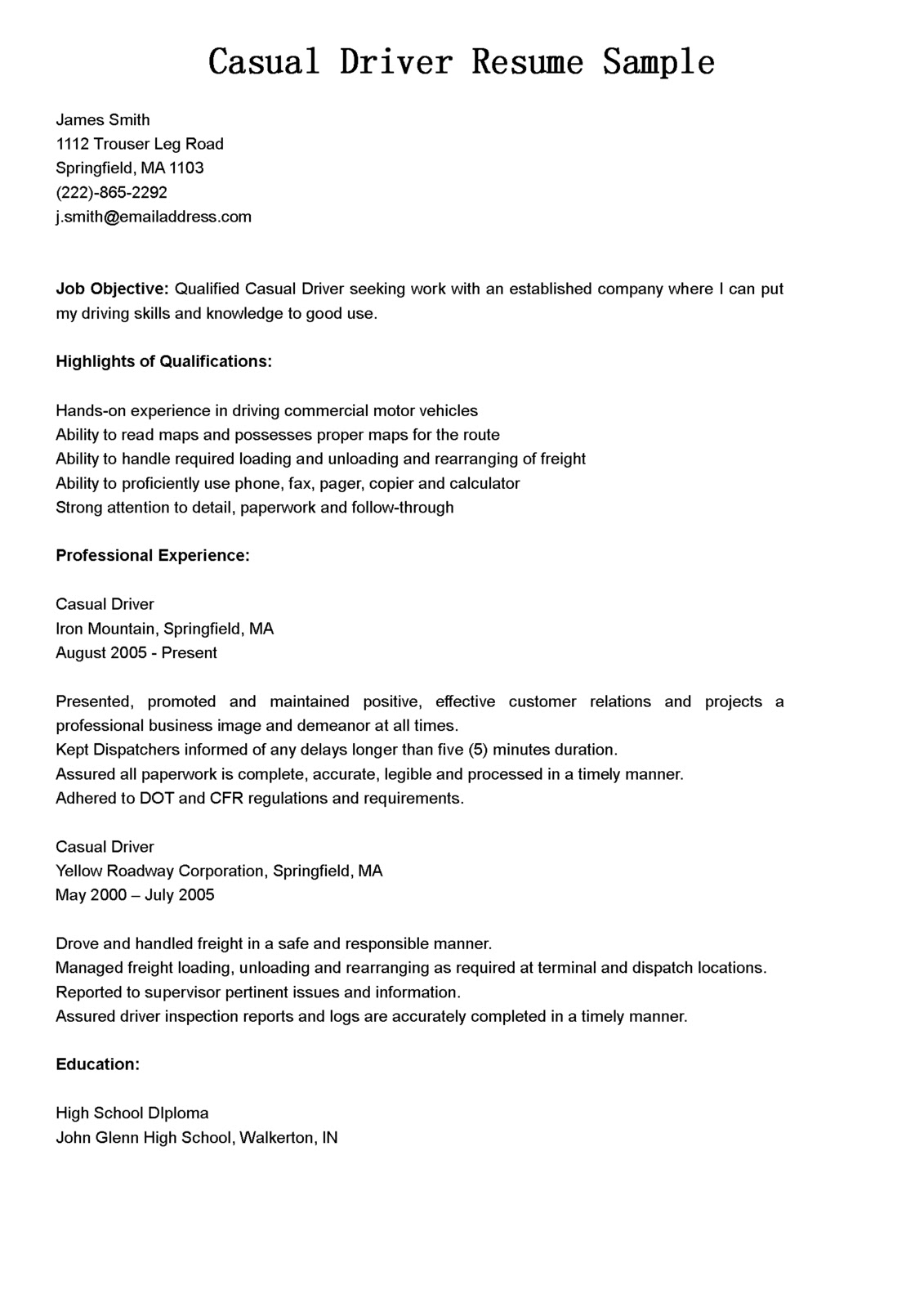 sample resume for cdl class b driver