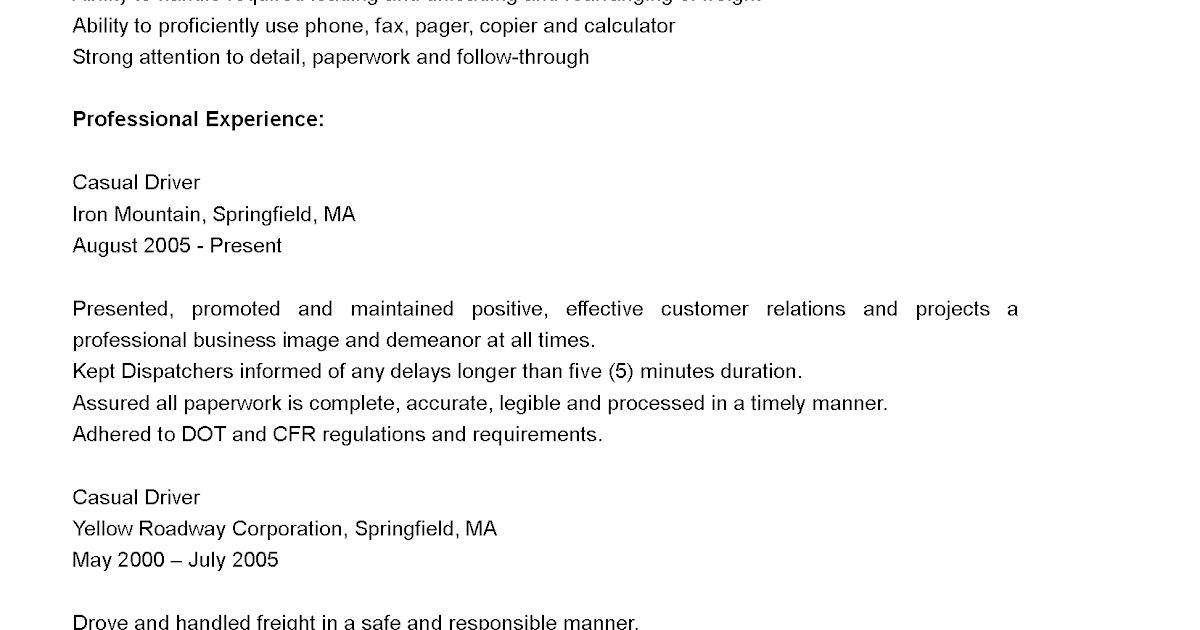 Driver Resumes Cdl B Driver Resume Sample