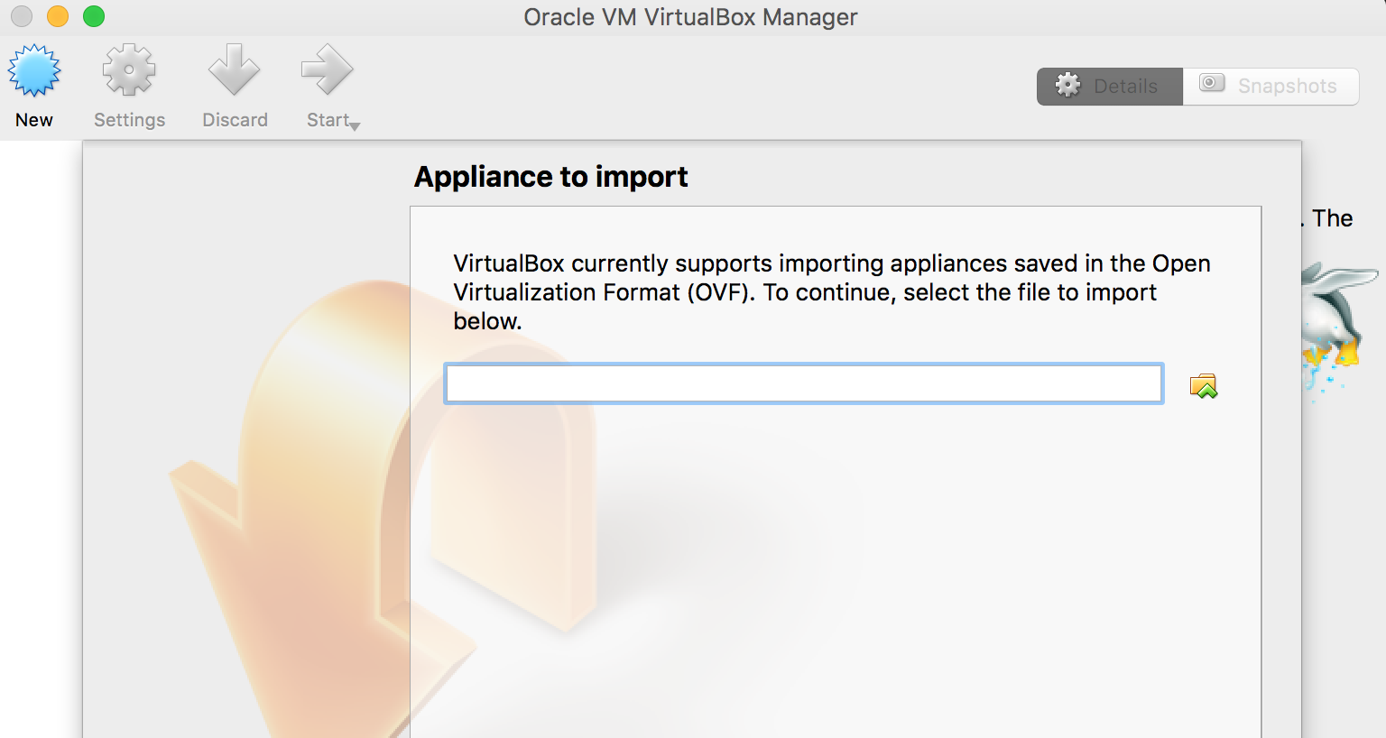 import ovf file in virtualbox
