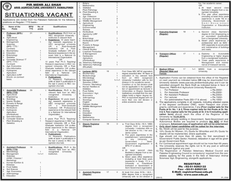 Advertisement for Arid Agriculture University Jobs
