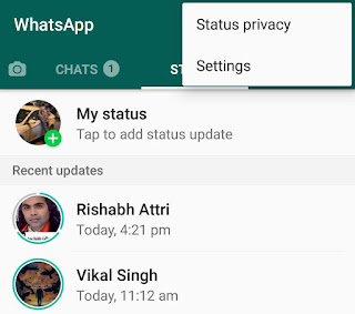 WhatsApp status privacy option