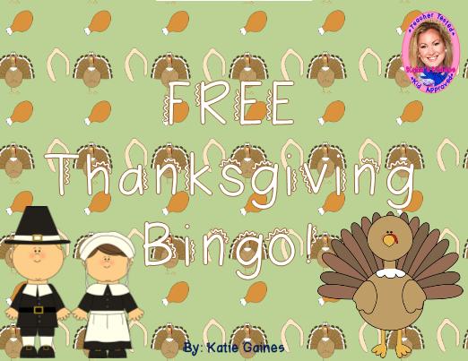 Free Thanksgiving Bingo Game at TeacherSherpa