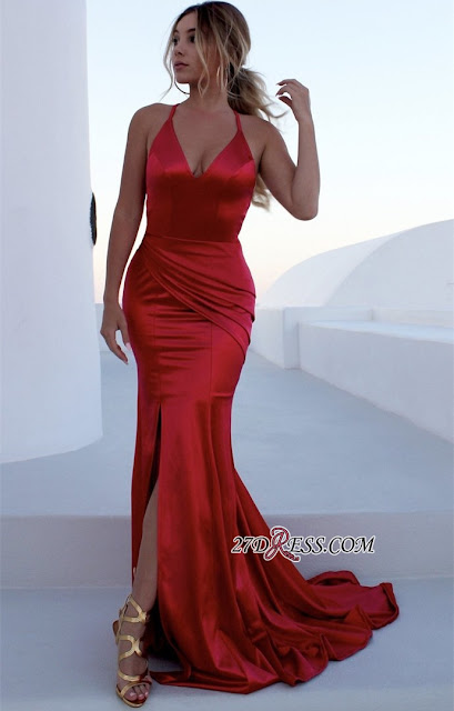 Sexy Red Halter Sleeveless Prom Dress With Split | Long Mermaid Criss Cross Strings Evening Gowns