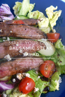 Weeknight Balsamic Steak Salad:  A simple salad topped with a steak that's juicy, tender, and dripping with wonderful flavor. All made on a weeknight! - Slice of Southern
