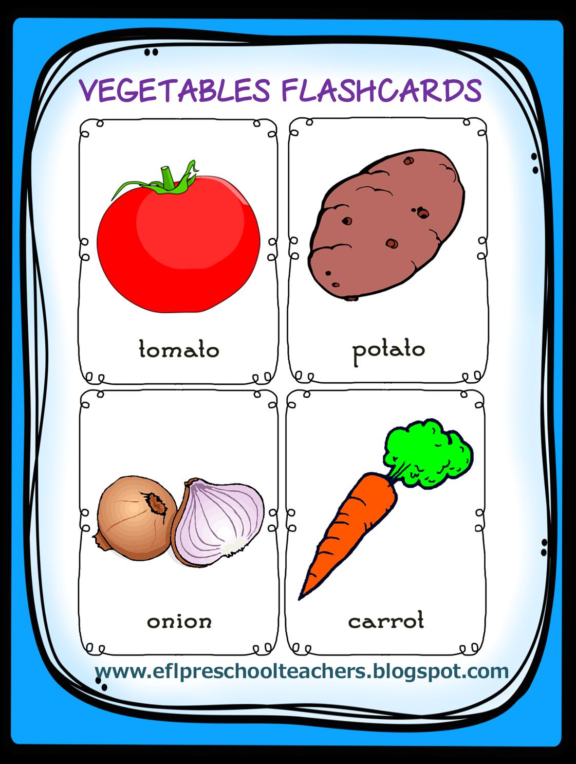 Esl Efl Preschool Teachers Vegetables Activities