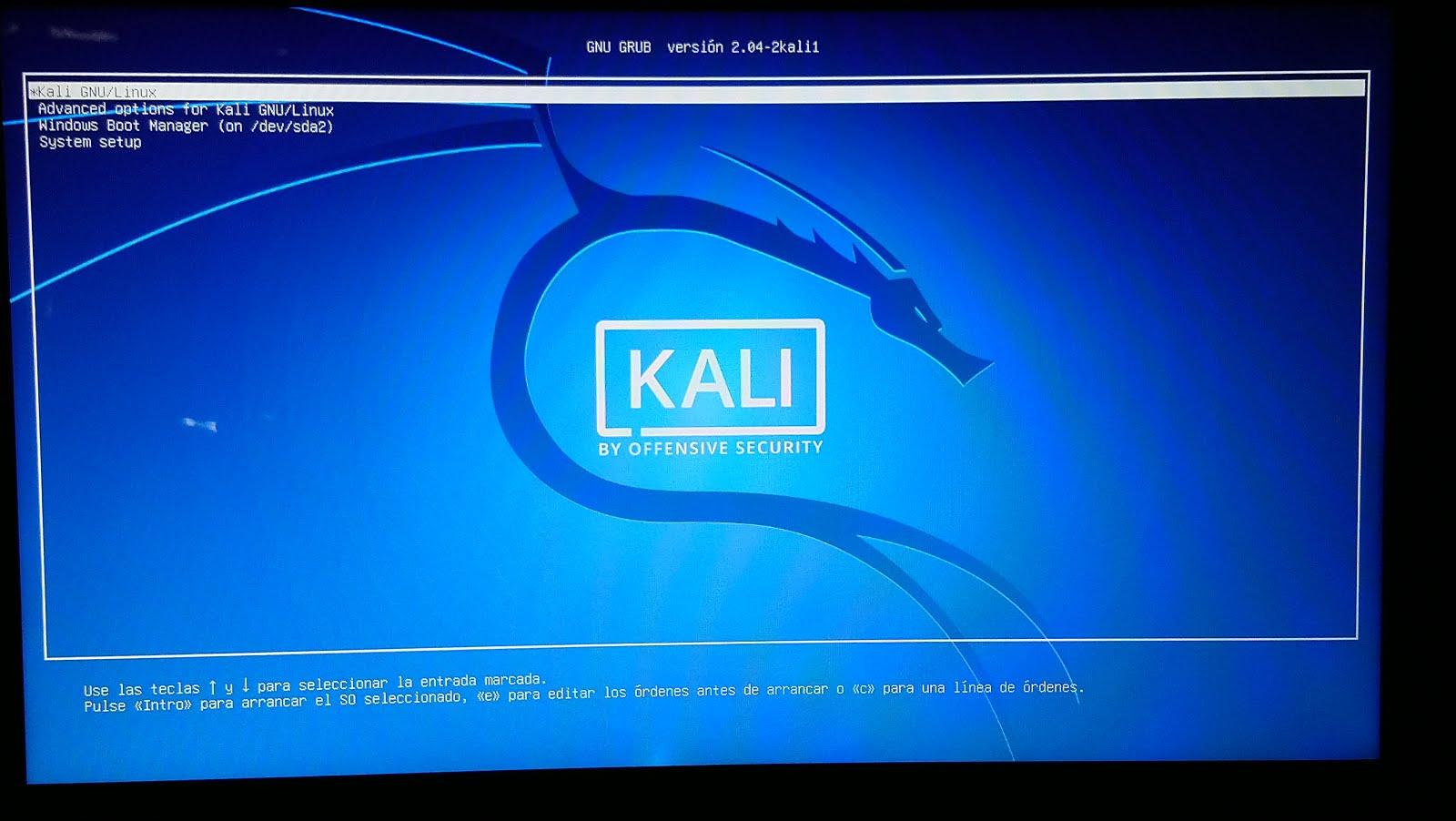 GNU GRUB de KALI LINUX