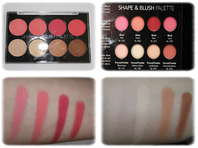 Swatchs Shade & Blush Palette - Action - Teintes Blushs Pink, Peach, Rose, Coral, Pressed Powders Warm Ivory, Banana Yellow, Sandy Beige et Chocolate Brown