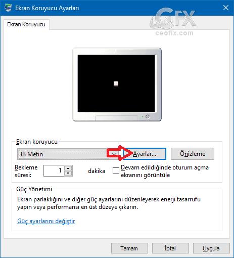 windows Klasik ekran koruyucu ayarları - www.ceofix.com