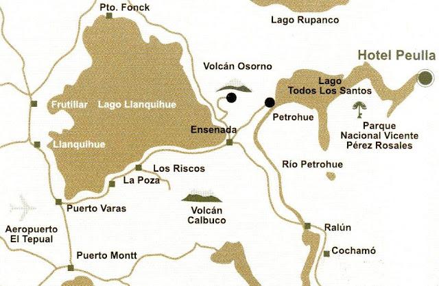 mapa da região dos lagos chilenos