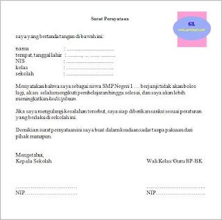 surat pernyataan siswa akan selalu mematuhi atau menaati peraturan (tata tertib) sekolah