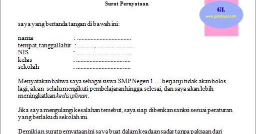 Surat Pernyataan Siswa Akan Selalu Mematuhi Peraturan