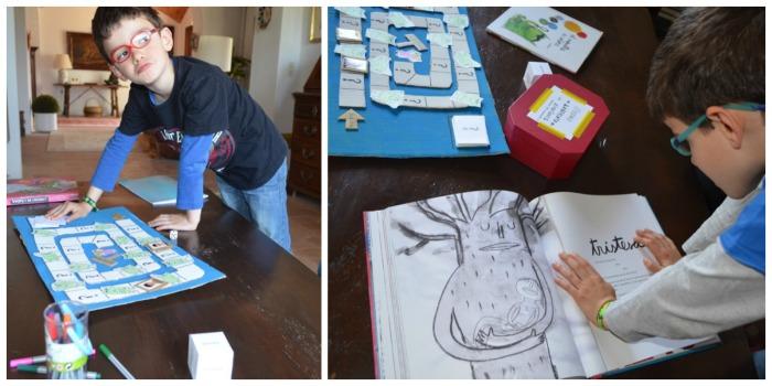 educacion emocional y cuentos, juego DIY laberinto emociones, niños jugando