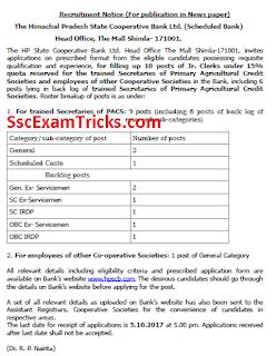 HPSCB Junior Clerk Recruitment 2017