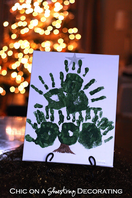 easy kids craft, handprint Christmas trees by Chic on a Shoestring Decorating blog