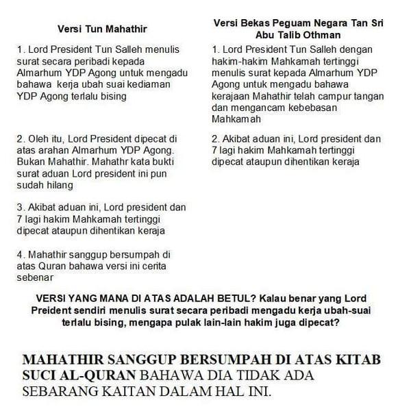 Pemecatan Ketua Hakim Negara 1988 Sebab Mahathir Nak Mengekalkan Kuasa - Kaitkan Dengan Agong