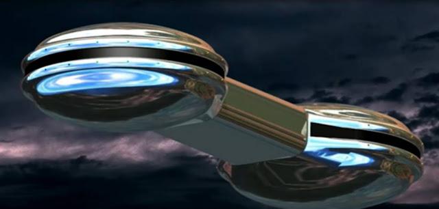 Representación del objeto volador visto por el testigo y sus dos acompañantes. Él ha descrito que poseía forma de auricular de teléfono y un brillo muy intenso, similar a una pieza forjada de mercurio.