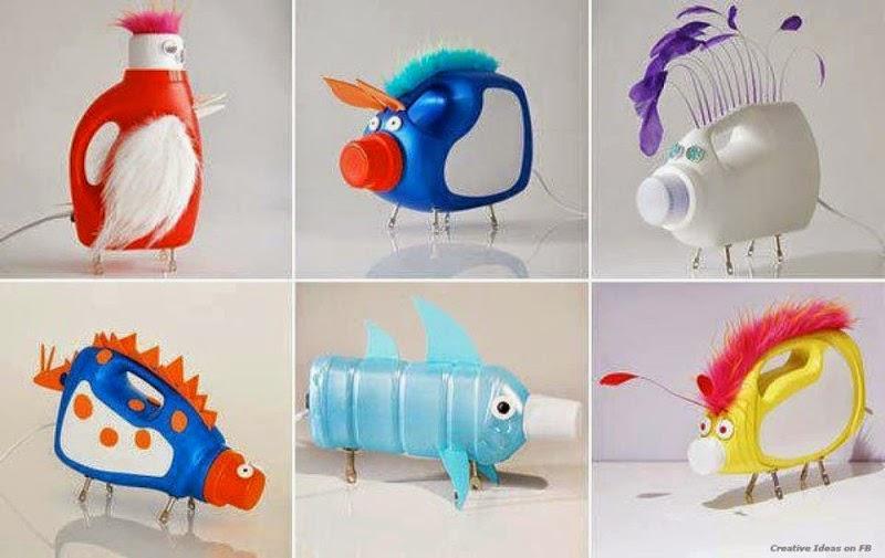 Animales con envases de plástico reciclados.