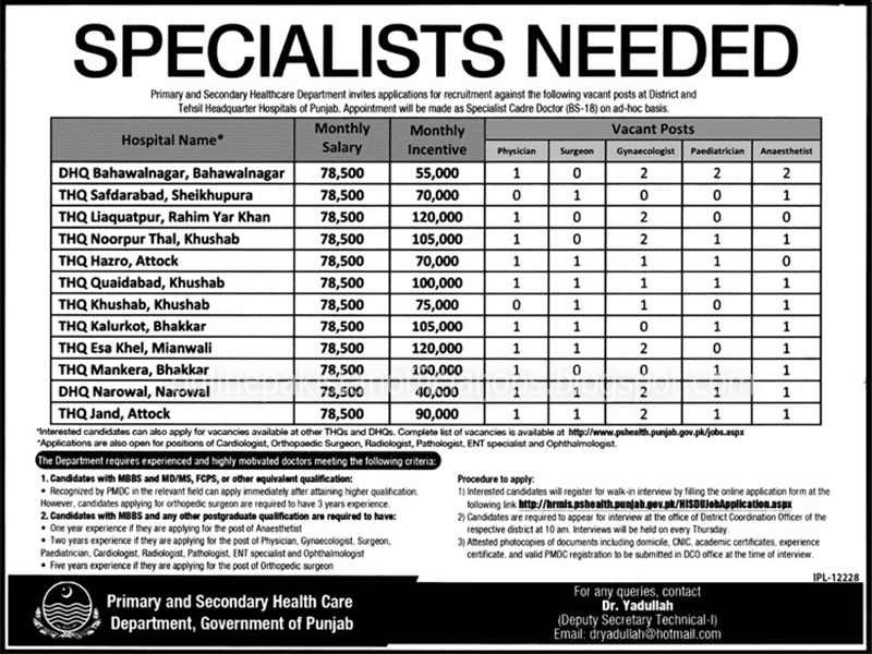 Specialists Jobs in Primary and Secondary Health Care Department