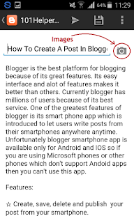 How to add images in blogger app