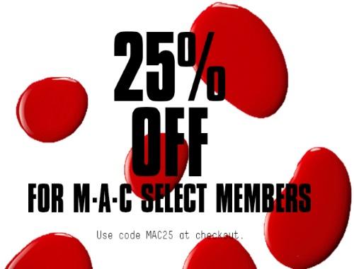 MAC Cosmetics 25% Off Select Members Promo Code